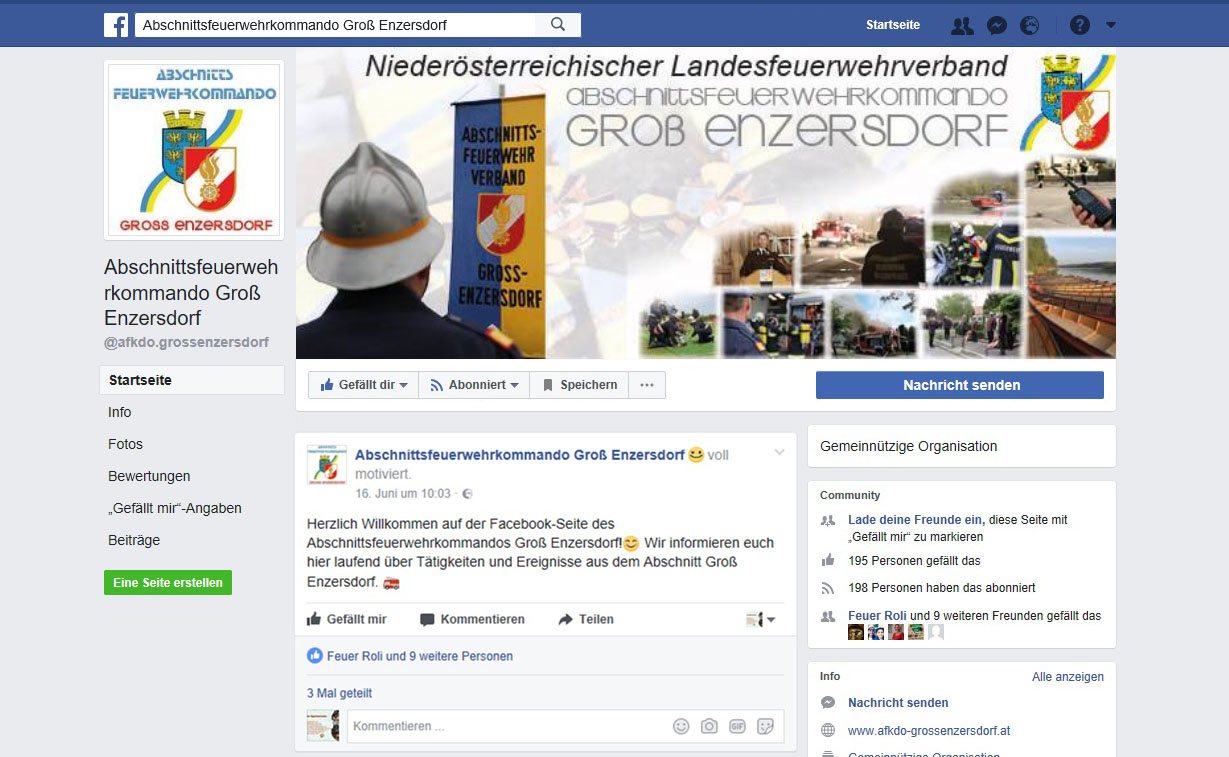 Screenshot AFKDO Groß Enzersdorf Facebook